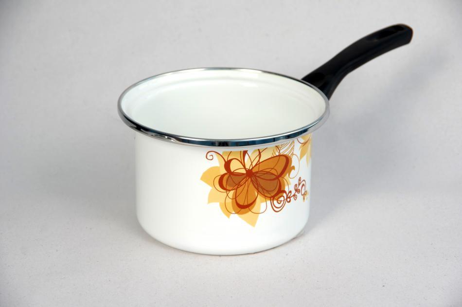 Ковш белый с деколью «Абстракция коричневая»